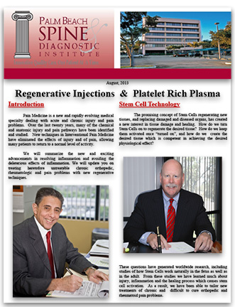 Newsletter on PRP Pain Management Services